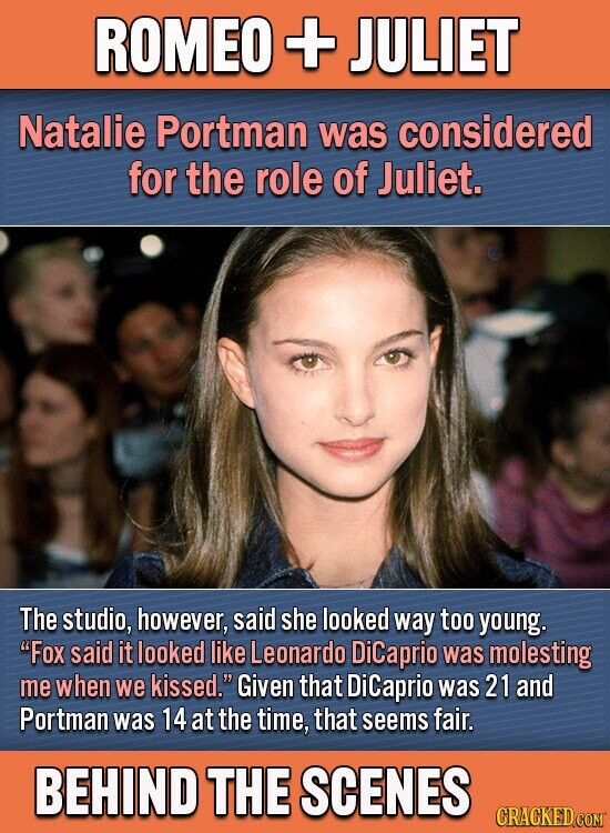 ROMEO + JULIET Natalie Portman was considered for the role of Juliet. The studio, however, said she looked way too young. Fox said it looked like Leonardo DiCaprio was molesting me when we kissed. Given that DiCaprio was 21 and Portman was 14 at the time, that seems fair. BEHIND