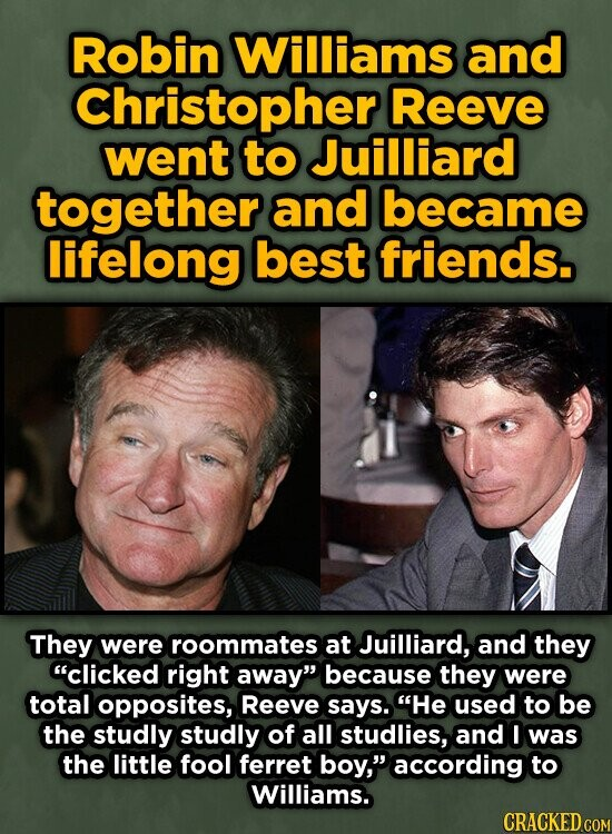 Robin Williams and Christopherl Reeve went to Juilliard together and became lifelong best friends. They were roommates at Juilliard, and they clicked right away because they were total opposites, Reeve says. He used to be the studly studly of all studlies, and I was the little fool ferret boy, according