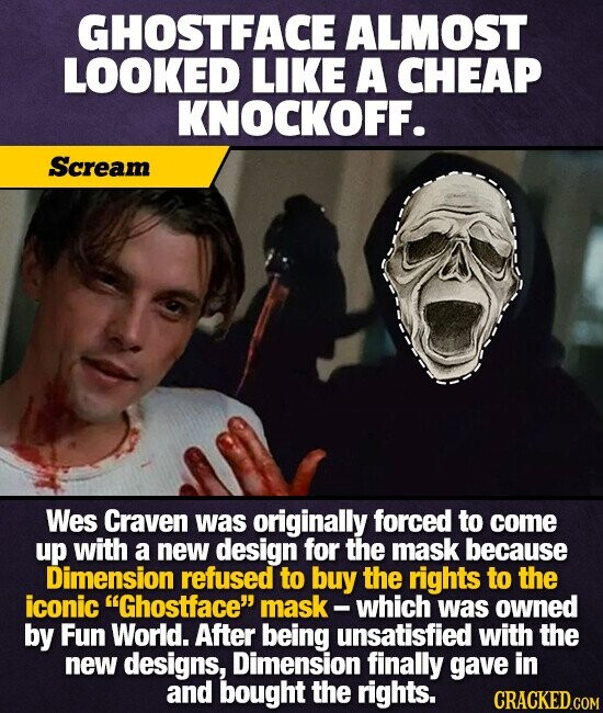 GHOSTFACE ALMOST LOOKED LIKE A CHEAP KNOCKOFF. Scream Wes Craven was originally forced to come up with a new design for the mask because Dimension refused to buy the rights to the iconic Ghostface mask - which was owned by Fun World. After being unsatisfied with the new designs, Dimension finally