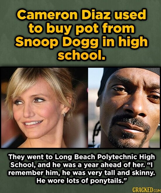 Cameron Diaz used to buy pot from Snoop Dogg in high school. They went to Long Beach Polytechnic High school, and he was a year ahead of her. I remember him, he was very tall and skinny. He wore lots of ponytails.
