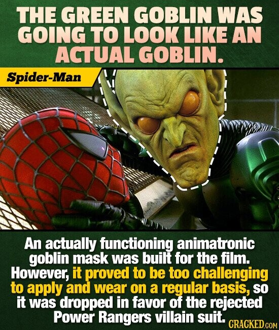THE GREEN GOBLIN WAS GOING TO LOOK LIKE AN ACTUAL GOBLIN. Spider-Man An actually functioning animatronic goblin mask was built for the film. However, it proved to be too challenging to apply and wear on a regular basis, SO it was dropped in favor of the rejected Power Rangers villain