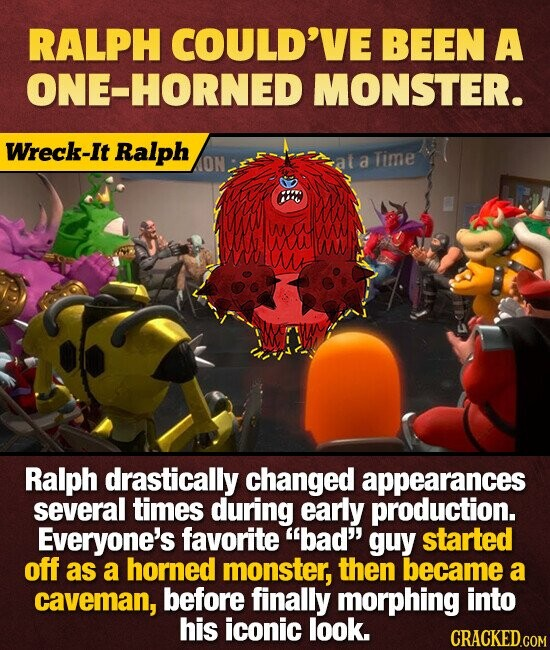 RALPH COULD'VE BEEN A ONE-HORNED MONSTER. Wreck-It Ralph ON a Time H aw Ralph drastically changed appearances several times during early production. Everyone's favorite bad' guy started off as a horned monster, then became a caveman, before finally morphing into his iconic look. CRACKED.COM