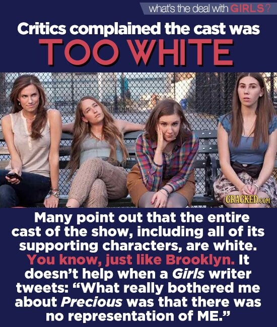 what's the deal withGIRLS? Critics complained the cast was TOO WHITE CRACKED.COM Many point out that the entire cast of the show, including all of its supporting characters, are white. You know, just like Brooklyn. It doesn't help when a Girls writer tweets: What really bothered me about Precious was