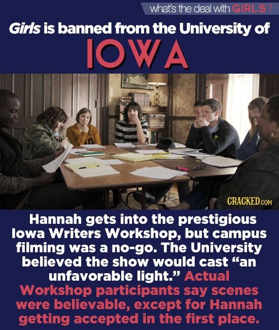 what's the deal with GIRLS? Girls is banned from the University of IOW A Hannah gets into the prestigious lowa Writers Workshop, but campus filming was a no-go. The University believed the show would cast an unfavorable light. Actual Workshop participants say scenes were believable, except for Hannah getting accepted