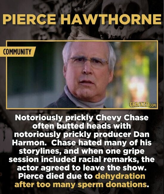 PIERCE HAWTHORNE COMMUNITY CRAGKED.COM Notoriously prickly Chevy Chase often butted heads with notoriously prickly producer Dan Harmon. Chase hated ma