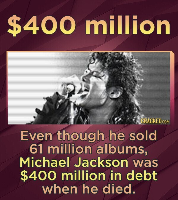 $400 million CRACKED COM Even though he sold 61 million albums, Michael Jackson was $400 million in debt when he died.