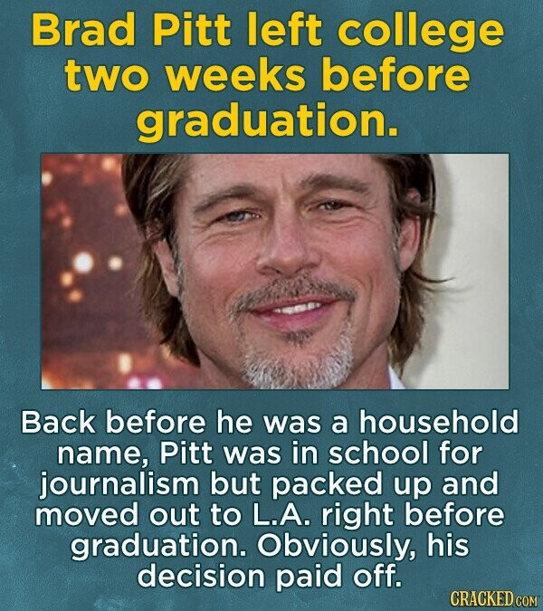Brad Pitt left college tWo weeks before graduation. Back before he was a household name, Pitt was in school for journalism but packed up and moved out to L.A. right before graduation. Obviously, his decision paid off. CRACKED COM