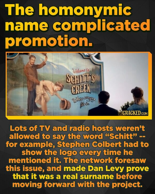 The homonymic name complicated promotion. Welotmne ta SCHITTS CREEK ne Whoo flola Lots of TV and radio hosts weren't allowed to say the word Schitt- for example, Stephen Colbert had to show the logo every time he mentioned it. The network foresaw this issue, and made Dan Levy prove