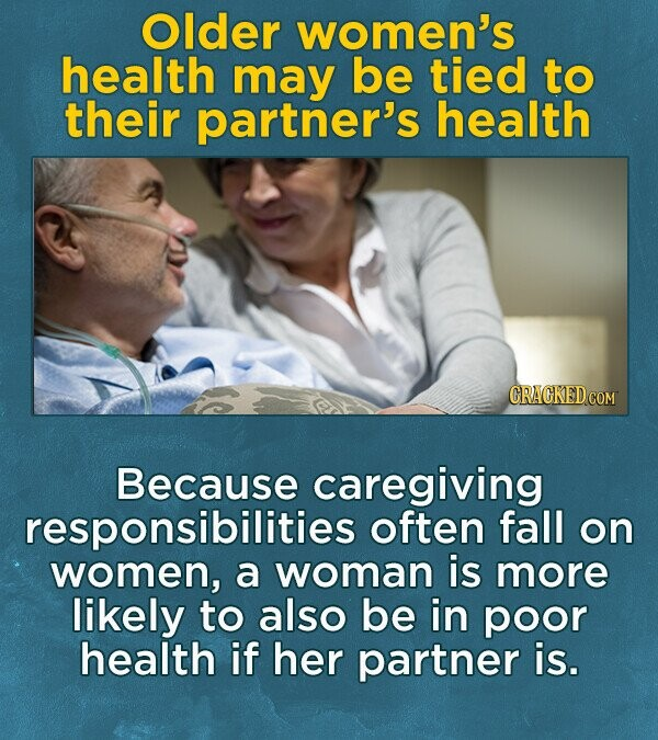Older women's health may be tied to their partner's health Because caregiving responsibilities often fall on women, a woman is more likely to also be in poor health if her partner is.