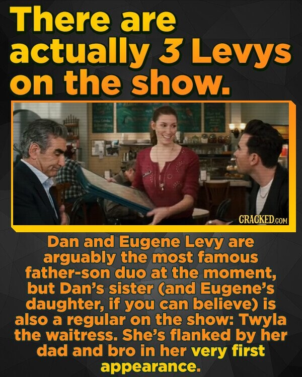 There are actually 3 Levys on the show. Dan and Eugene Levy are arguably the most famous father-son duo at the moment, but Dan's sister (and Eugene's daughter, if you can believe) is also a regular on thE show: Twyla the waitress. She's flanked by her dad and bro