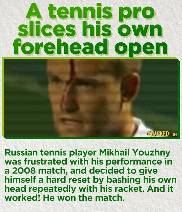 A tennis pro slices his own forehead open Russian tennis player Mikhail Youzhny was frustrated with his performance in a 2008 match, and decided to give himself a hard reset by bashing his own head repeatedly with his racket. And it worked! He won the match.