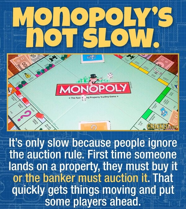 MONOPOLY'S not SLOW. OO4 MONOPOLY The ing Trsding Game Fast- Property It's only slow because people ignore the auction rule. First time someone lands on a property, they must buy it or the banker must auction it. That quickly gets things moving and put some players ahead.