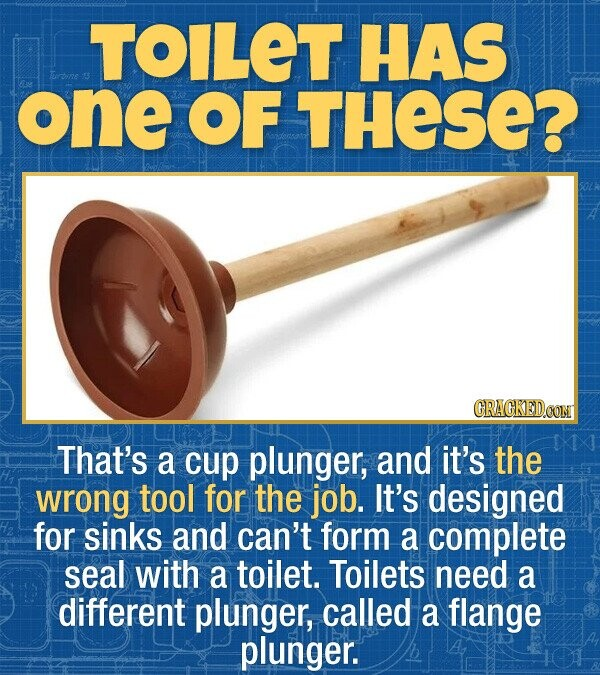 TOILET HAS 13 one OF THESE? CRACKEDOON That's a cup plunger, and it's the wrong tool for the job. It's designed for sinks and can't form a complete seal with a toilet. Toilets need a different plunger, called a flange plunger.