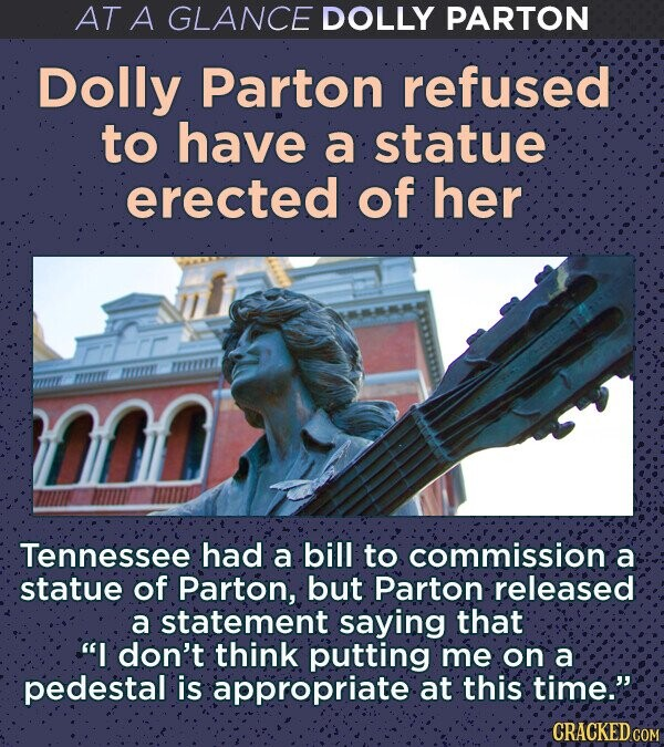 AT A GLANCE DOLLY PARTON Dolly Parton refused to have a statue erected of her Tennessee had a bill to commission a statue of Parton, but Parton released a statement saying that I don't think putting me on a pedestal is appropriate at this time. CRACKED COM