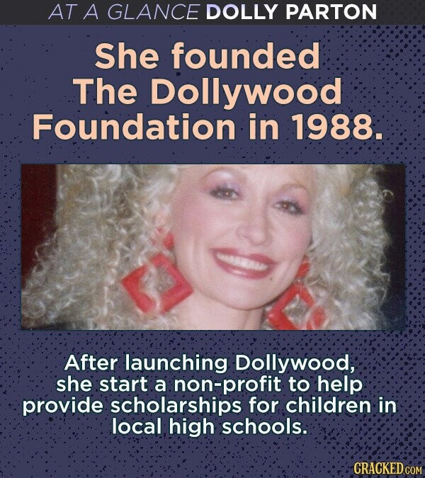 AT A GLANCE DOLLY PARTON She founded The Dollywood Foundation in 1988. After launching Dollywood, she start a non-profit to help provide scholarships for children in local high schools. CRACKED COM