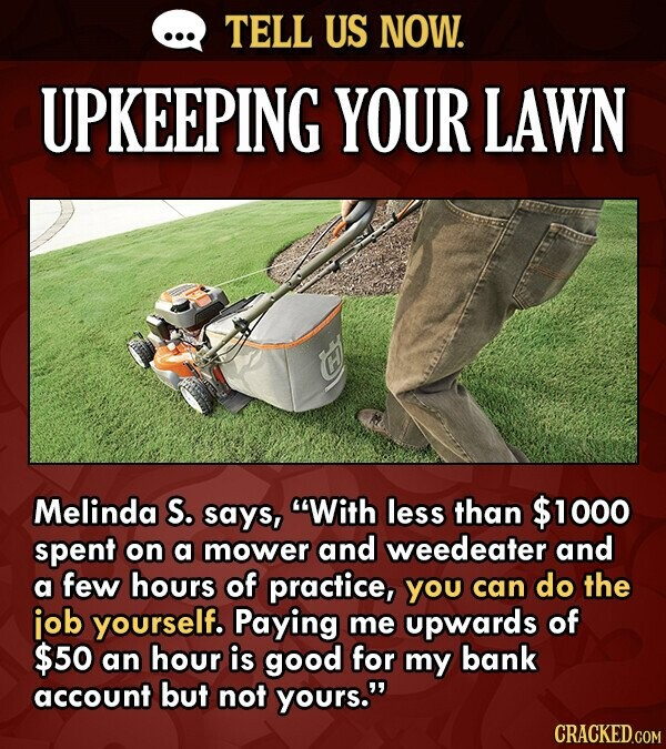 TELL US NOW. UPKEEPING YOUR LAWN Melinda S. says, With less than $1000 spent on a mower and weedeater and a few hours of practice, you can do the iob