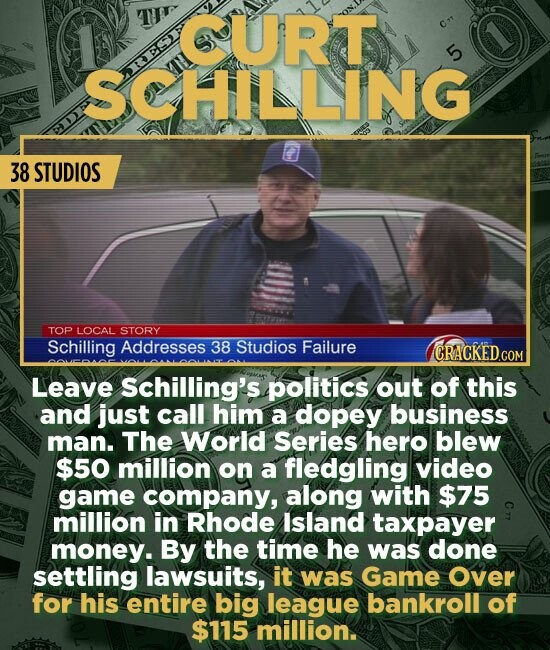 CURT SCHILLING 38 STUDIOS TOP LOCAL STORY Schilling Addresses 38 Studios Failure Leave Schilling's politics out of this and just call him a dopey business man. The World Series hero blew $50 million on a fledgling video game company, along with $75 million in Rhode lsland taxpayer money. By