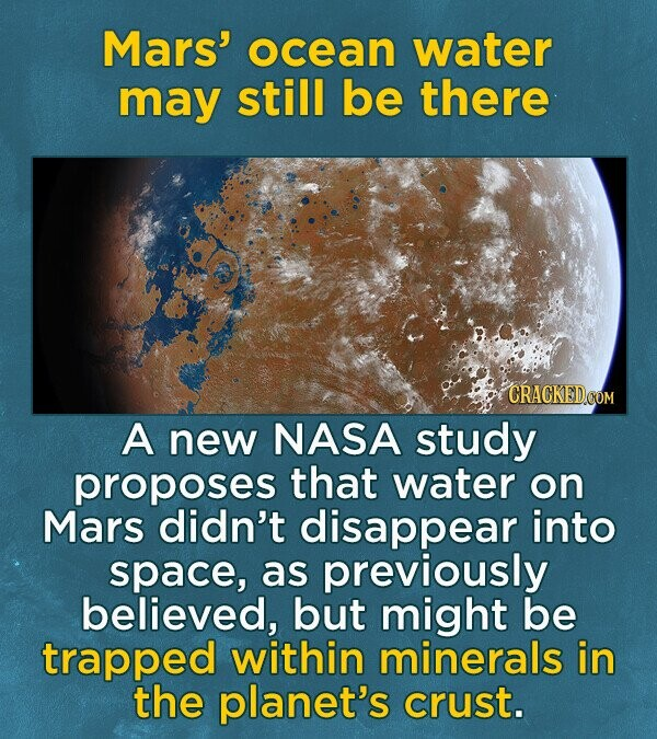 Mars' ocean water may still be there A new NASA study proposes that water on Mars didn't disappear into space, as previously believed, but might be trapped within minerals in the planet's crust.