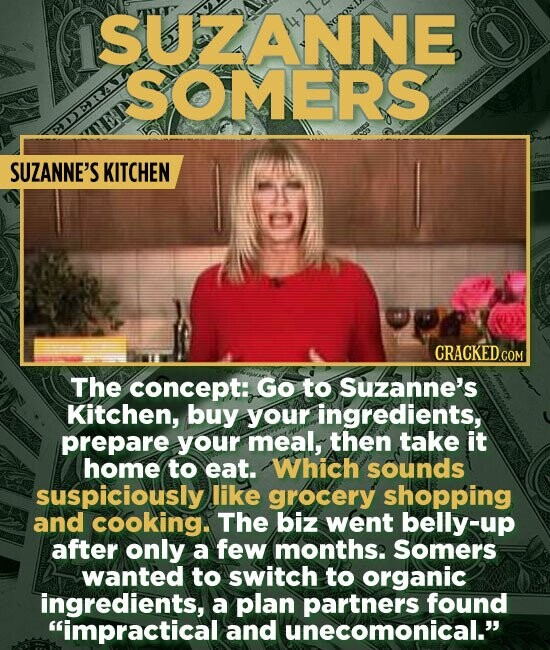 ANNE SOMERS DERAI TEP SUZANNE'S KITCHEN The concept: GO to Suzanne's Kitchen, buy your ingredients, prepare your meal, then take it home to eat. Which sounds suspiciously like grocery shopping and cooking. The biz went belly-up after only a few months. somers wanted to switch to organic ingredients, a