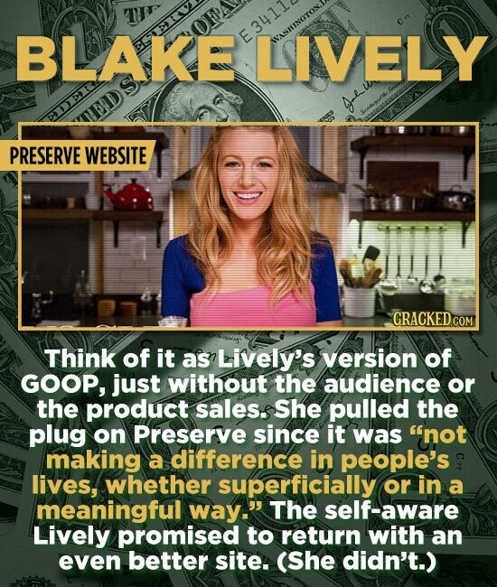 BLAKE E3411 LIVELY AINGTON, PRESERVE WEBSITE Think of it as Lively's version of GOOP, just without the audience or the product sales.s She pulled the plug on Preserve since it was not making a difference in people's lives, whether superficially or in a meaningful way. The -aware Lively promised