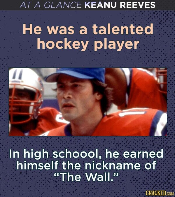 AT A GLANCE KEANU REEVES He was a talented hockey player In high schoool, he earned himself the nickname of The Wall. CRACKED COM
