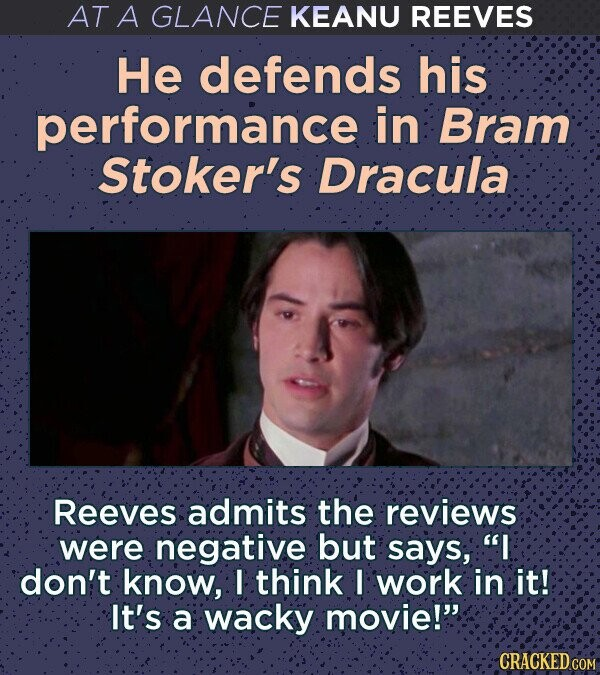 AT A GLANCE KEANU REEVES He defends his performance in Bram Stoker's Dracula Reeves admits the reviews were negative but says, I don't know, I think I work in it! It's a wacky movie! CRACKED COM