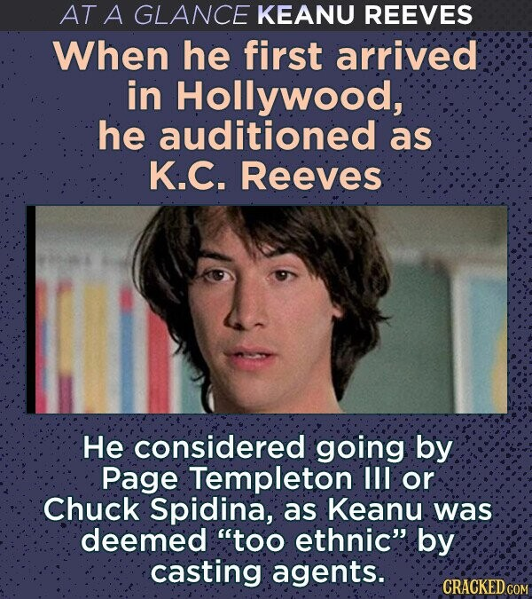 AT A GLANCE KEANU REEVES When he first arrived in Hollywood, he auditioned as K.C. Reeves He considered going by Page Templeton III or Chuck Spidina, as Keanu was deemed too ethnic by casting agents. CRACKED COM
