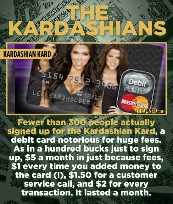 KARDASHIANS EER KARDASHIAN KARD 5154 7512 S 3456 Debit 749 LE CARDHOLDER 12/12 Mastertard CRACKED.COM Fewer than 300 people actually signed up for the Kardashian Kard, a debit card notorious for huge fees. As in a hundred bucks just to sign up, $5 a month in just because fees, $1