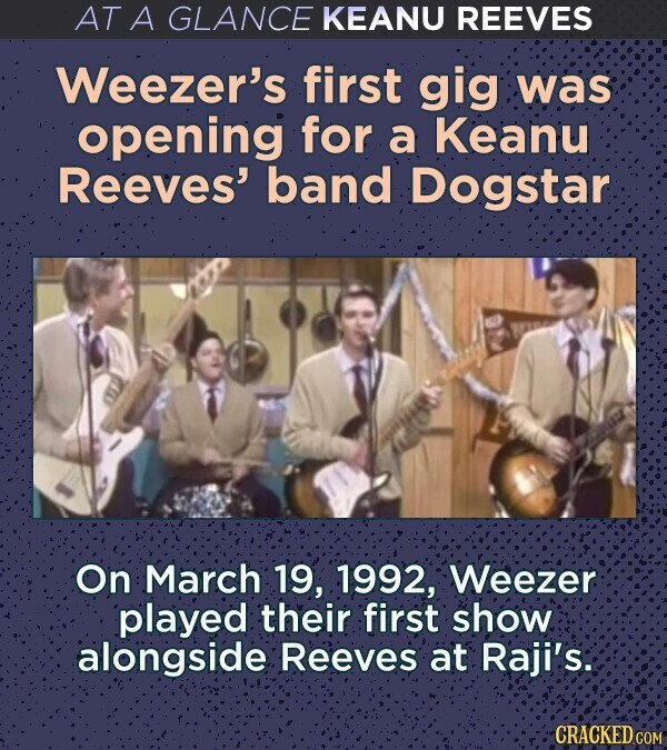 AT A GLANCE KEANU REEVES Weezer's first gig was opening for a Keanu Reeves' band Dogstar O'n March 19, 1992, Weezer played their first show alongside Reeves at Raji's: CRACKED COM