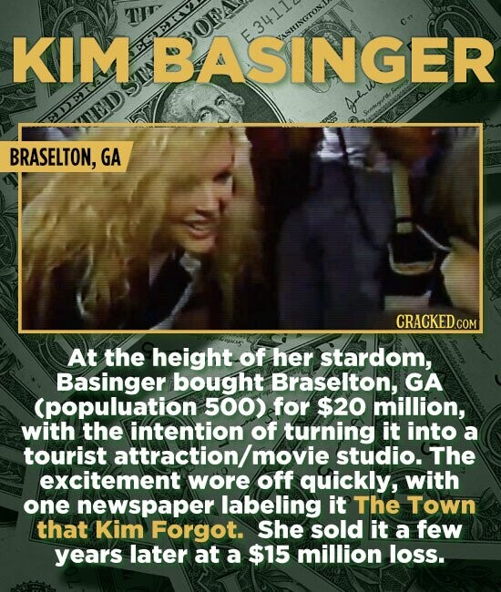 KIM EE BASINGER E3411 VASHINGTON. BRASELTON, GA At the height of her stardom, Basinger bought Braselton, GA Cpopuluation 500) for $20 million, with the intention of turning it into a tourist attraction/ movie studio. The excitement wore off quickly, with one newspaper labeling it The Town that Kim Forgot.