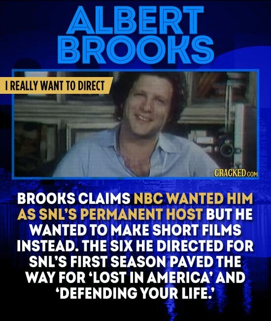 ALBERT BROOKS I REALLY WANT TO DIRECT BROOKS CLAIMS NBC WANTED HIM AS SNL'S PERMANENT HOST BUT HE WANTED TO MAKE SHORT FILMS INSTEAD. THE SIX HE DIRECTED FOR SNL'S FIRST SEASON PAVED THE WAY FOR 'LOST IN AMERICA' AND 'DEFENDING YOUR LIFE.'