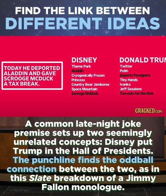 FIND THE LINK BETWEEN DIFFERENT IDEAS DISNEY DONALD TRUN TODAY HE DEPORTED Theme Park Twitter Aladdin Putin ALADDIN AND GAVE Cryogenically Frozen Deports Foreigners SCROOGE MCDUCK Princess Tiny Hands A TAX BREAK. Country Bear Jamboree Ivanka Space Mountain Jeff Sessions Scrooge McDuck Tax-cuts for the Rich A common late-night