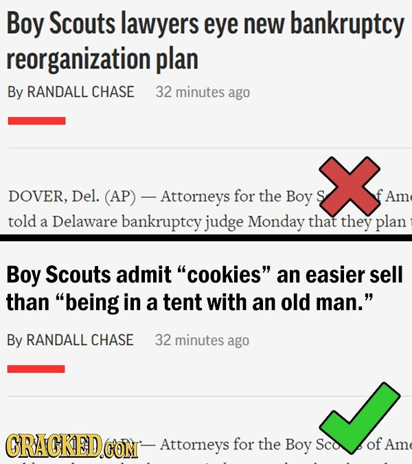 Boy Scouts lawyers eye new bankruptcy reorganization plan By RANDALL CHASE 32 minutes ago DOVER, Del. (AP) - Attorneys for the Boy S Am told a Delaware bankruptcy judge Monday that they plan Boy Scouts admit cookies an easier sell than being in a tent with an old man. By RANDALL