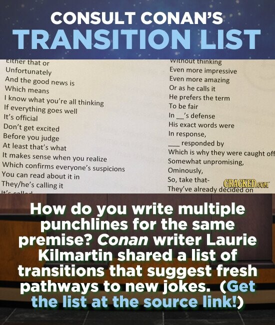 CONSULT CONAN'S TRANSITION LIST uher that wtnout or thinking Unfortunately Even more impressive And the good Even more amazing news is Which Or means as he calls it I know what He you're prefers the term all thinking If everything To be fair goes well It's official In defense Don't