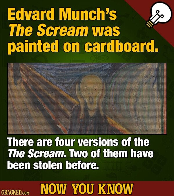 Edvard Munch's The Scream was painted on cardboard. There are four versions of the The Scream. Two of them have been stolen before. NOW YOU KNOW CRACK
