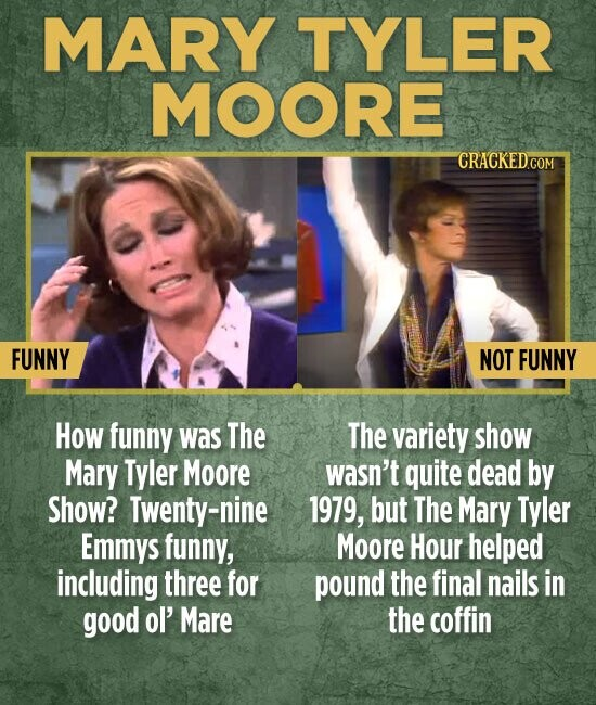 MARY TYLER MOORE CRACKED FUNNY NOT FUNNY How funny was The The variety show Mary Tyler Moore wasn't quite dead by Show? Twenty-nine 1979, but The Mary Tyler Emmys funny, Moore Hour helped including three for pound the final nails in good ol' Mare the coffin