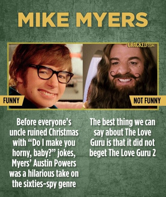MIKE MYERS FUNNY NOT FUNNY Before everyone's The best thing we can uncle ruined Christmas say about The Love with Do I make you Guru is that it did not horny, baby? jokes, beget The Love Guru 2 Myers' Austin Powers WAS a hilarious take on the sixties-spy genre