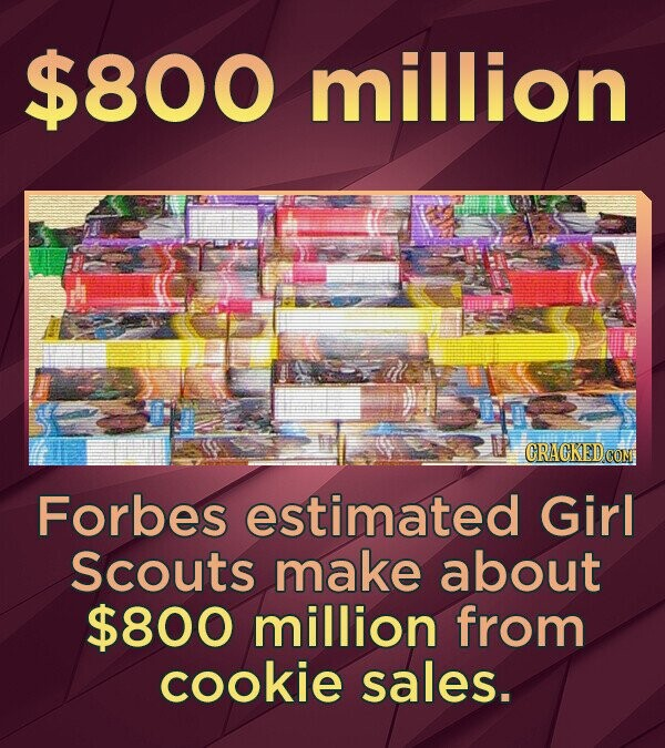 $800 million Forbes estimated Girl Scouts make about $800 million from cookie sales.