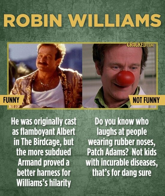 ROBIN WILLIAMS FUNNY NOT FUNNY He was originally cast Do you know who as flamboyant Albert laughs at people in The Birdcage, but wearing rubber noses, the more subdued Patch Adams? Not kids Armand proved a with incurable diseases, better harness for that's for dang sure Williams's hilarity