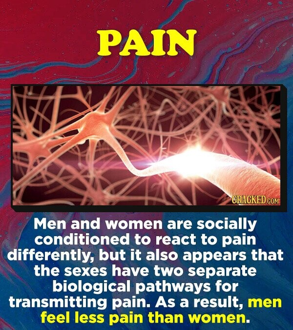 PAIN CRACKED COM Men and women are socially conditioned to react to pain differently, but it also appears that the sexes have two separate biological pathways for transmitting pain. As a result, men feel less pain than women.