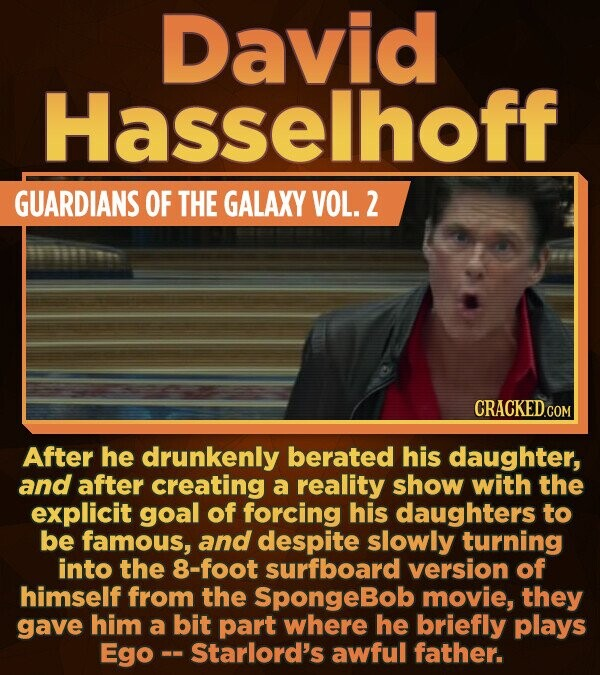 David Hasselhoff GUARDIANS OF THE GALAXY VOL. 2 After he drunkenly berated his daughter, and after creating a reality show with the explicit goal of f