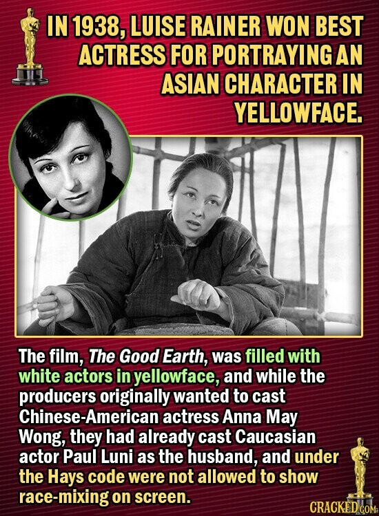 IN 1938, LUISE RAINER WON BEST ACTRESS FOR PORTRAYING AN ASIAN CHARACTER IN YELLOWFACE. The film, The Good Earth, was filled with white actors in yellowface, and while the producers originally wanted to cast Chinese-Ame actress Anna May Wong, they had already cast Caucasian actor Paul Luni as the husband,