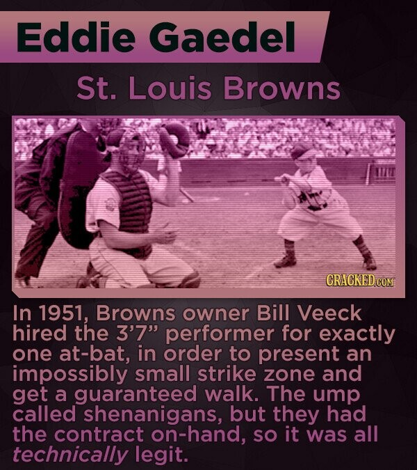 Eddie Gaedel St. Louis Browns CRACKED COM In 1951, Browns owner Bill Veeck hired the 3'7 performer for exactly one at-bat, in order to present an impossibly small strike zone and get a guaranteed walk. The ump called shenanigans, but they had the contract on-hand, SO it was all technically legit.