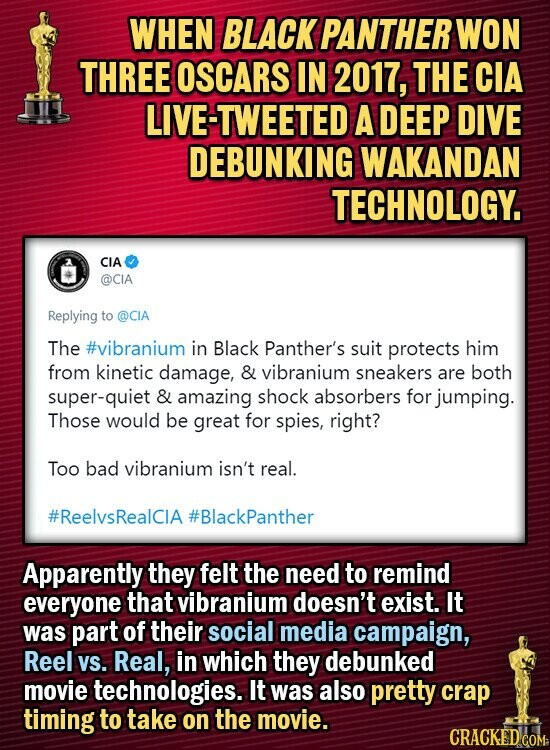 WHEN BLACK PANTHER WON THREE OSCARS IN 2017, THE CIA LIVE-TWEETED A DEEP DIVE DEBUNKING WAKANDAN TECHNOLOGY. CIA @CIA Replying to @CIA The #vibranium in Black Panther's suit protects him from kinetic damage, & vibranium sneakers are both super-quiet & amazing shock absorbers for jumping. Those would be great for