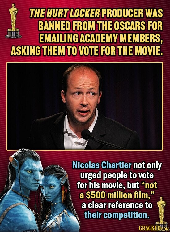 THE HURT LOCKER PRODUCER WAS BANNED FROM THE OSCARS FOR EMAILINGACADEMY MEMBERS, ASKING THEM TO VOTE FOR THE MOVIE. Nicolas Chartier not only urged people to vote for his movie, but not a $500 million film, a clear reference to their competition.
