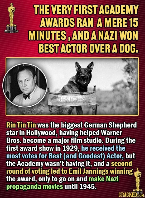 THE VERY FIRST ACADEMY AWARDS RAN A MERE 15 MINUTES, AND A NAZI WON BEST ACTOR OVER A DOG. Rin Tin Tin was the biggest German Shepherd star in Hollywood, having helped Warner Bros. become a major film studio. During the first award show in 1929, he received the most