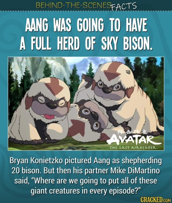 AANG WAS GOING TO HAVE A FULL HERD OF SKY BISON. Bryan Konietzko pictured Aang as shepherding 20 bison. But then his partner Mike DiMartino said, Where are we going to put all of these giant creatures in every episode?