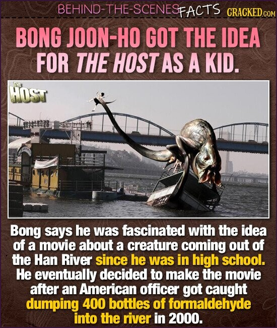 BEHIND-THE-SCENESFACTS CRACKED BONG JOON-HO GOT THE IDEA FOR THE HOST AS A KID. THE HOST Bong says he was fascinated with the idea of a movie about a creature coming out of the Han River since he was in high school. He eventually decided to make the movie after an