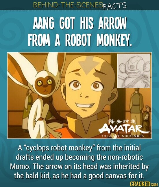 AANG GOT HIS ARROW FROM A ROBOT MONKEY. A cyclops robot monkey from the initial drafts ended up becoming the non-robotic Momo. The arrow on its head was inherited by the bald kid, as he had a good canvas for it.