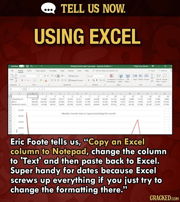 Microsoft Excel lifehack - photo of an excel spreadsheet with the text - Eric Foote tells us, Copy an Excel column to Notepad, change the column to 'Text' and then paste back to Excel. Super handy for dates because Excel screws up everything if you just try to change the formatting there.